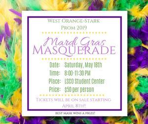 The Theme for Prom will be Mardi Gras Masquerade!