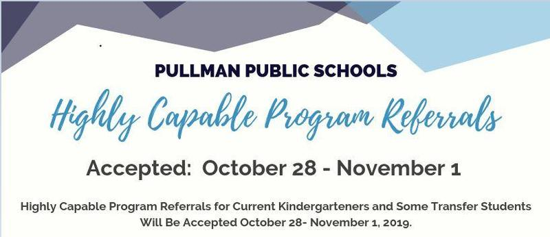 Highly Capable Program Referrals for Current Kindergartners and Some Transfer Students Will Be Accepted October 28- November 1, 2019. Thumbnail Image