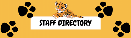 baby tiger on top of the words staff directory