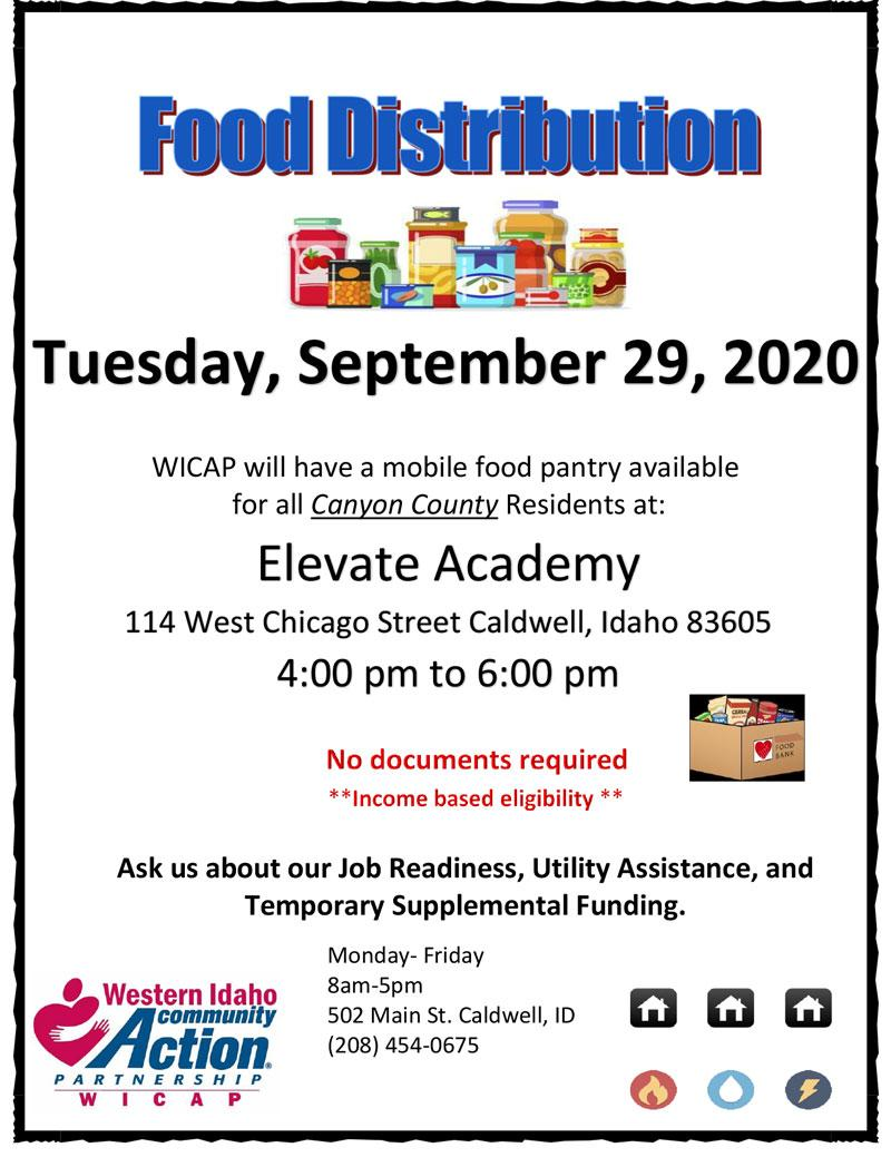 WICAP will have a mobile food pantry on Thursday, September 29 at 114 West Chicago Street Caldwell, Idaho