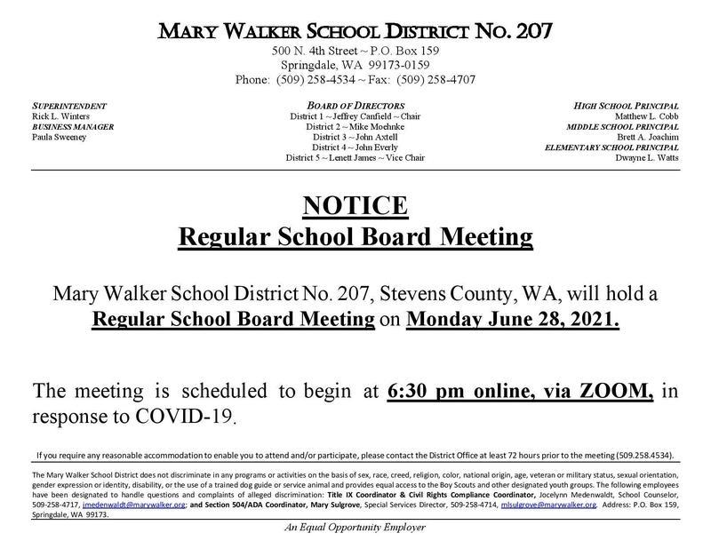 Regular School Board Meeting Monday, June 28th Featured Photo