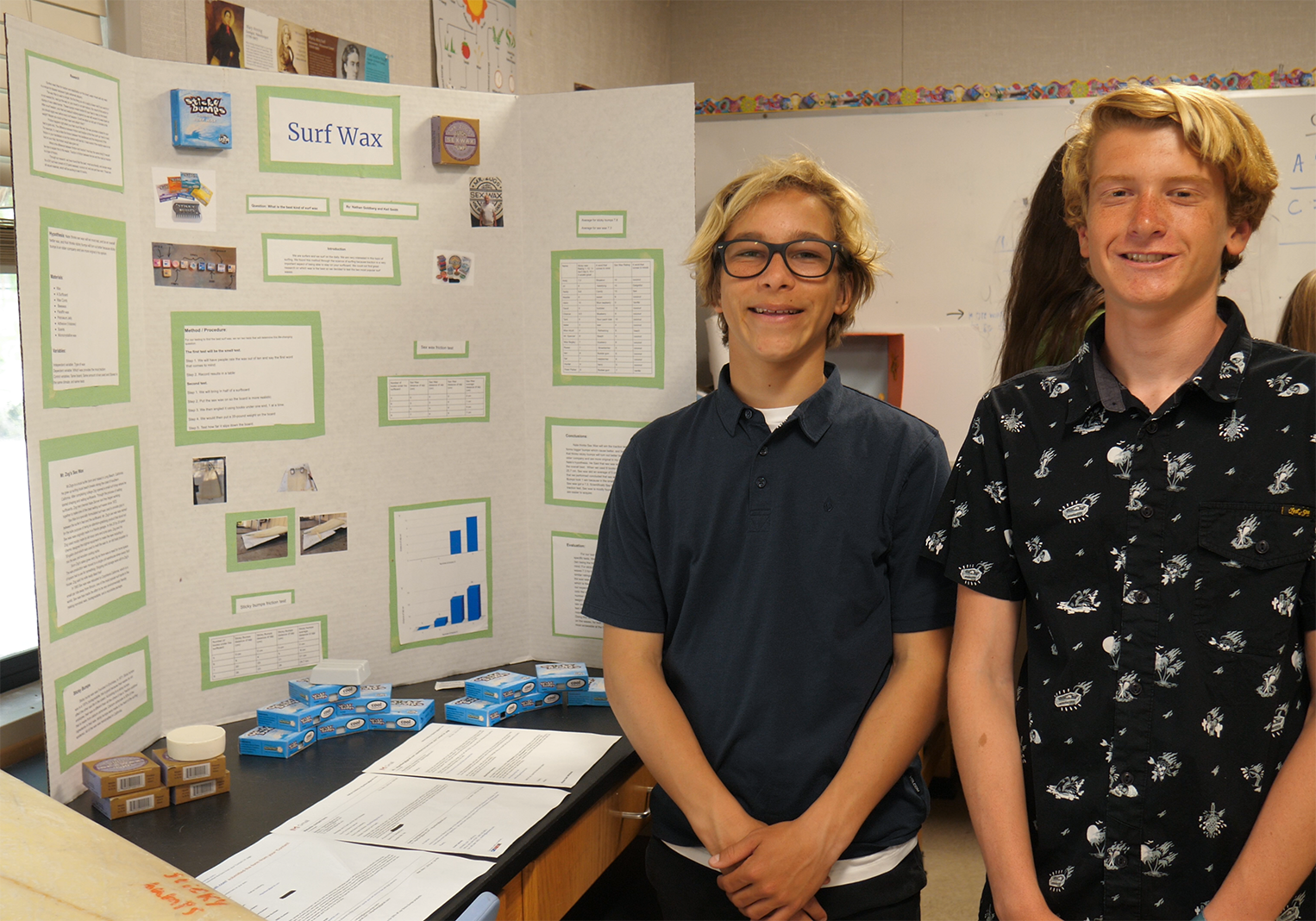 8th Grade Students showing their science fair project.