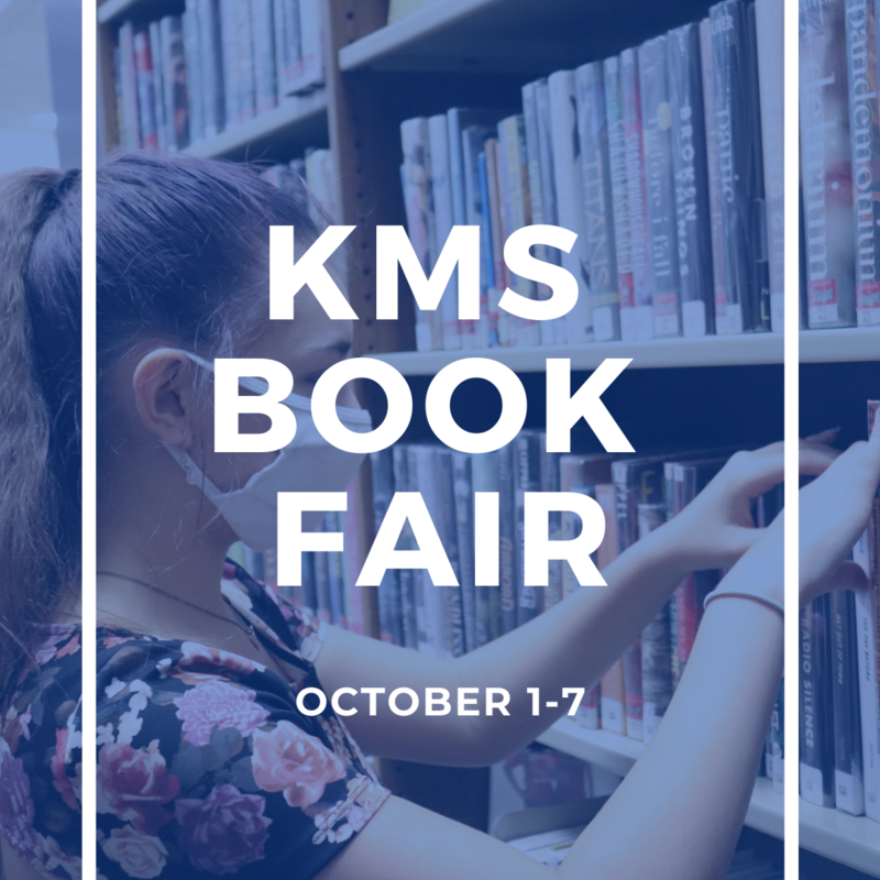 image shows girl at bookshelf looking for a book with blue overlay and white text reading kms book fair october 1-7