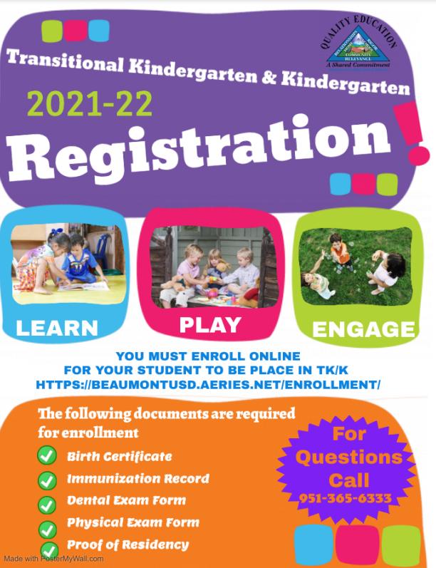 Enrollment registration for 2021-22