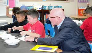 Michael Funk, Director of the California Department of Education Expanded Learning Division, spent Feb. 7 exploring the many options available to Foster Elementary students through the site's Think Together program.
