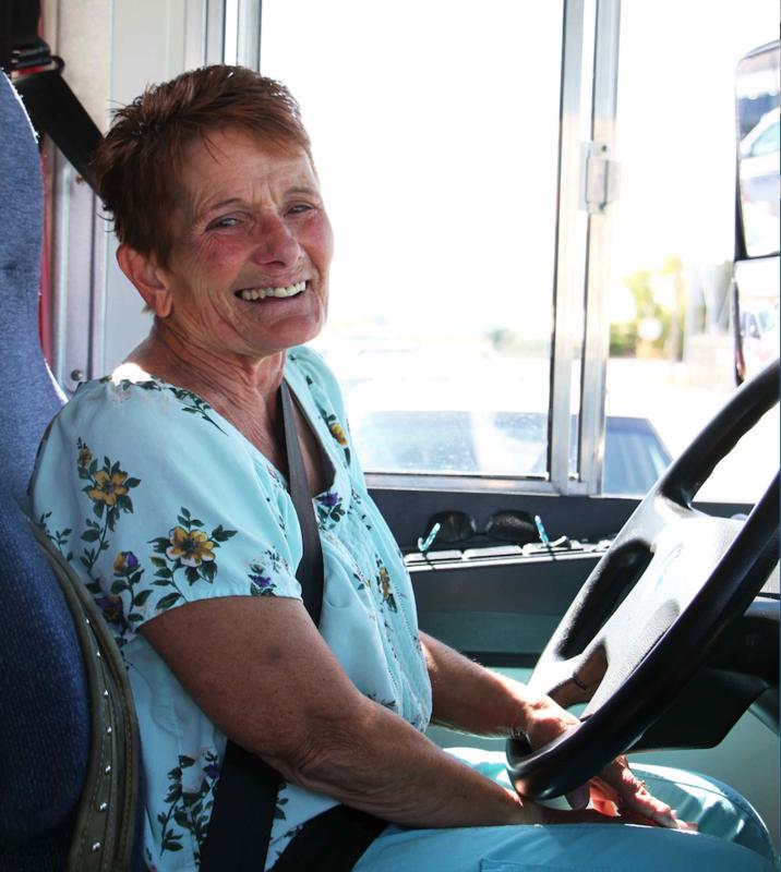 Willa Sitting On Bus Driver Seat