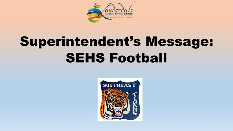 Superintendent's Message: SEHS Football Graphic
