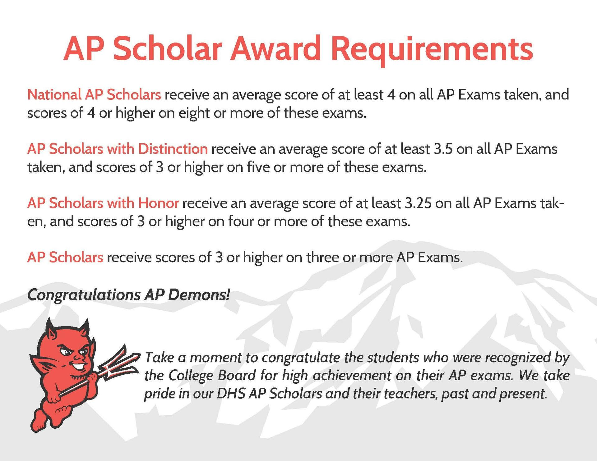 AP Scholars Award Requirements