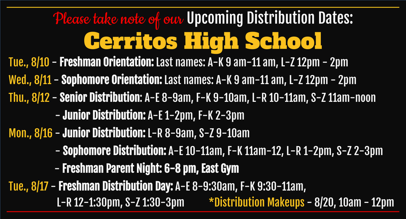 Just a little over a month before school starts! Save the dates for these important events. Notice that if you miss any of the dates for distribution/lockers the makeup for all grades is on August 20th.