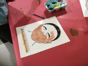 Students drew features and then used multicultural paints to blend a skin tone.
