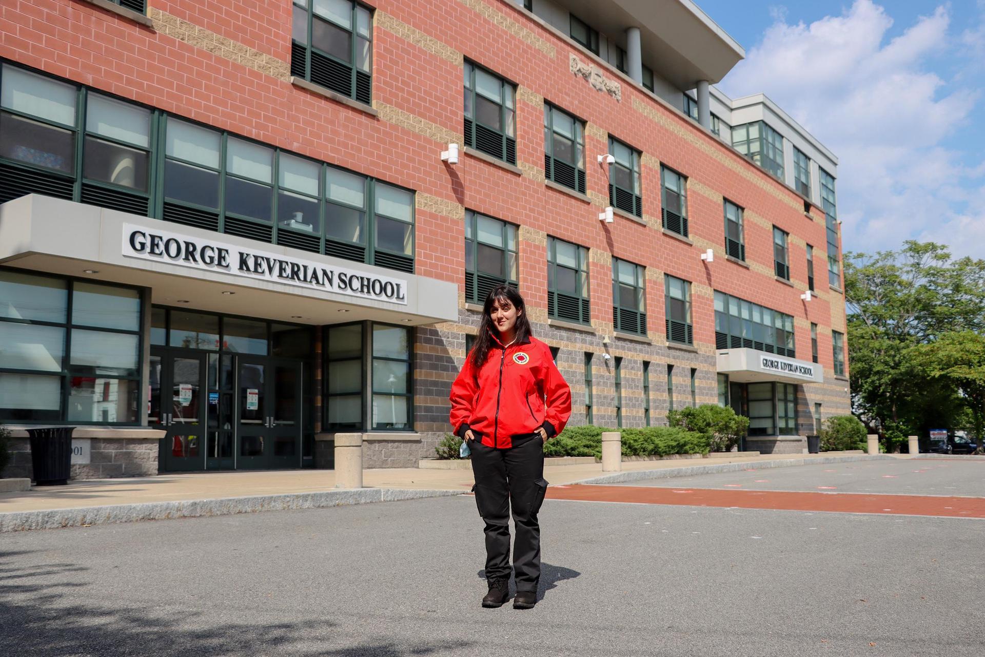 City Year member outside the Lafayette School