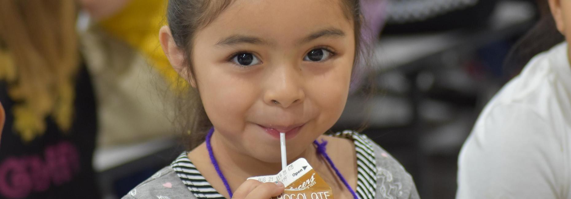Student drinking milk