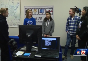 Five students on the North Wilkes Middle School Media Team