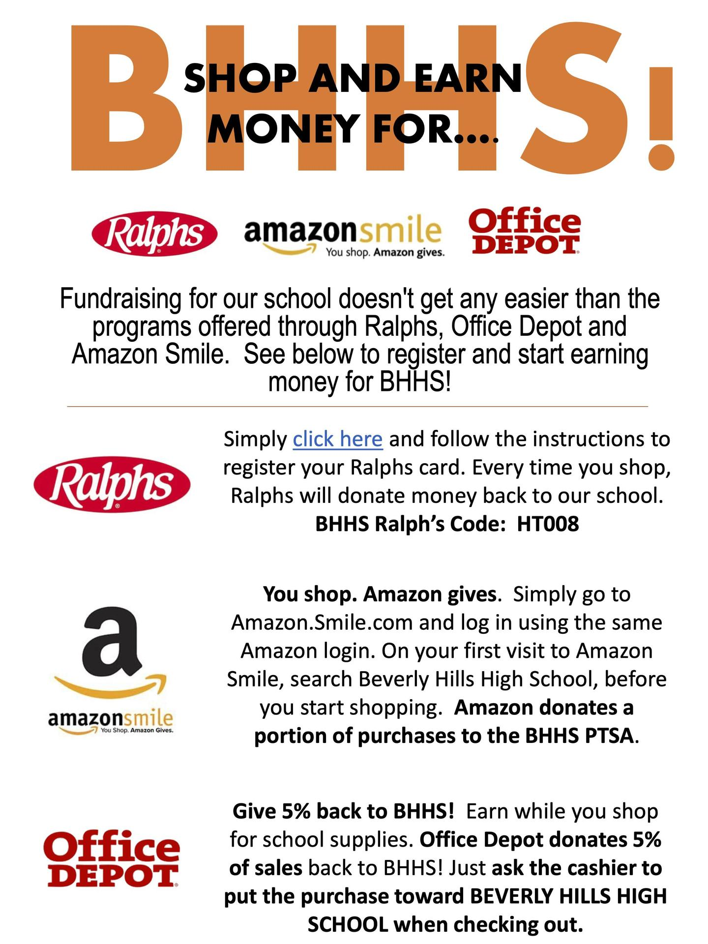 Shop & Earn! Ralphs, Amazon (via Amazon.Smile.com) & Office Depot