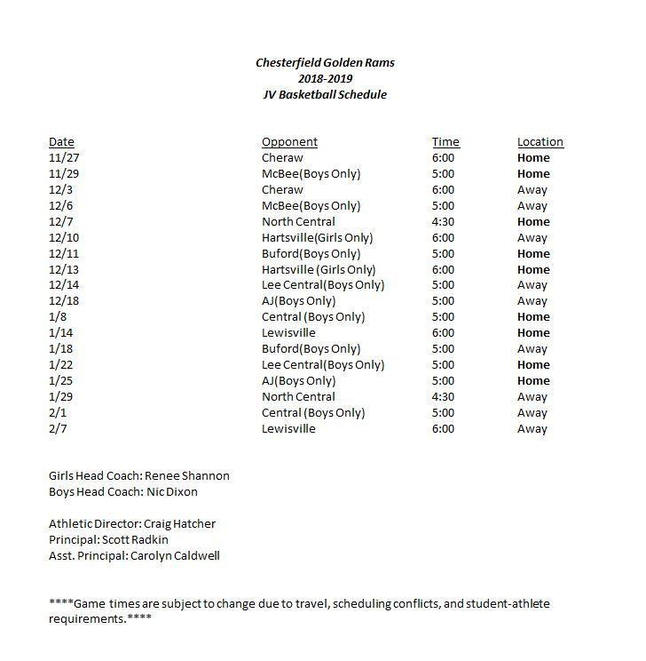 Updated JV Basketball Schedule Featured Photo