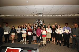 MNTMS Scholars being recognized with MISD Board of Trustees and superintendent