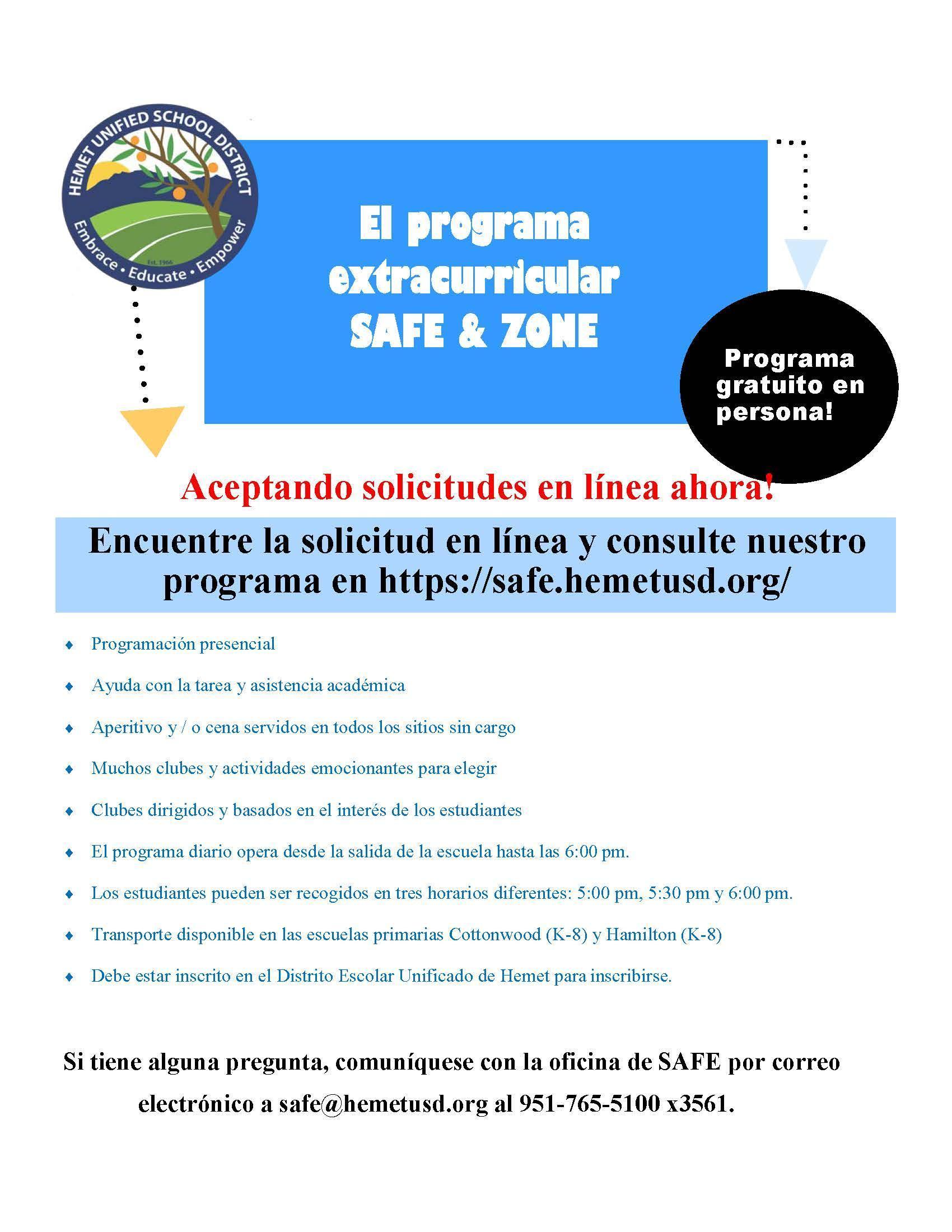 SAFE Enrollment Flyer- English