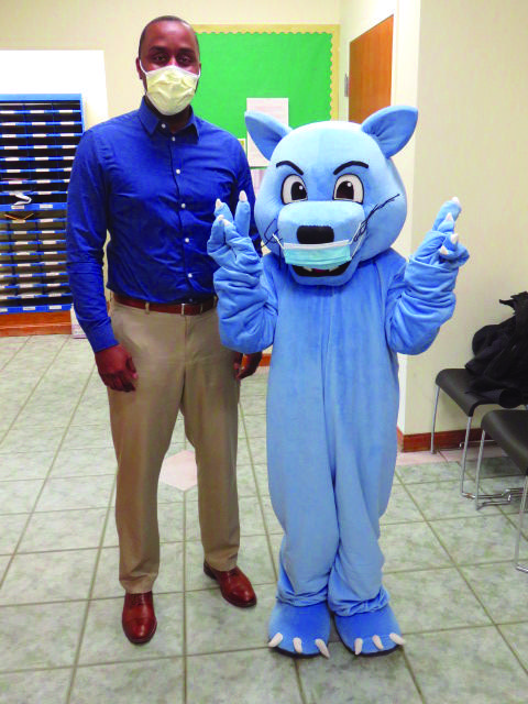 Assistant Principal Stanley Chamblain and the Parlin Panther.