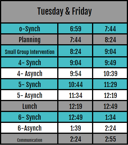 Tuesday/Thursday Schedule