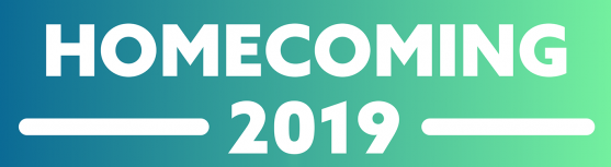 a graphic that says Homecoming 2019 in bold white letters with a shades of green background