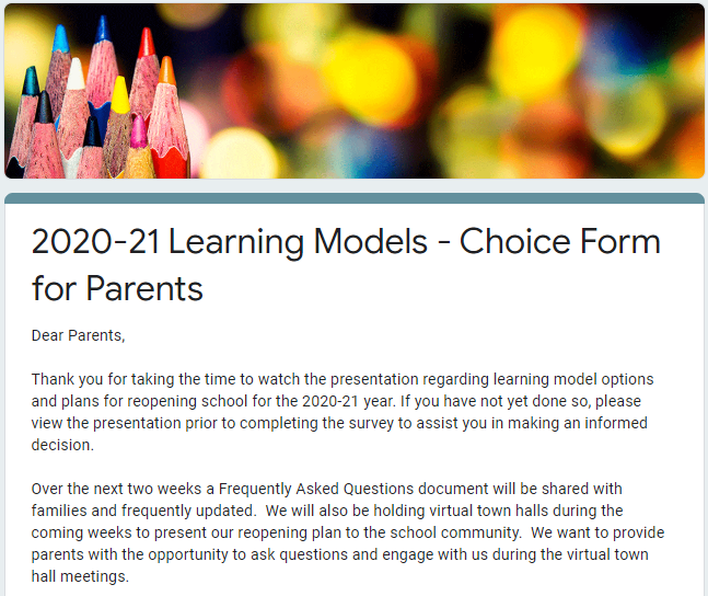snapshot of Google Form for parents to choose