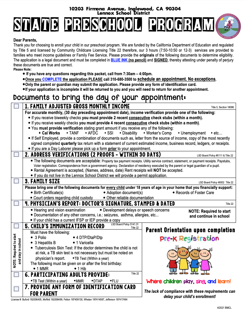 PreSchool application english