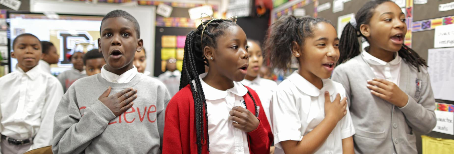 KIPP Believe students saying the pledge