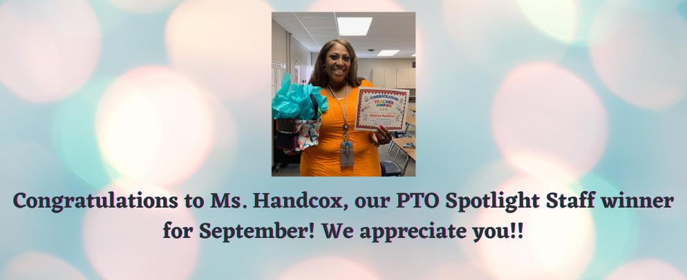 Staff Spotlight Winner, Ms. Handcox