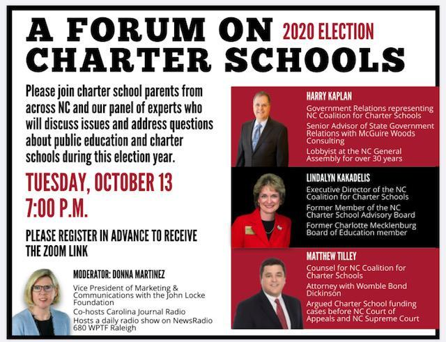 Forum on Charter Schools - Tuesday, Oct. 13, 2020 7PM Via Zoom Featured Photo