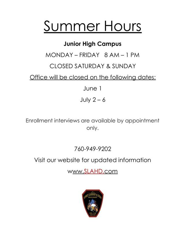 SUMMER HOURS - Both High School & Junior High Campus Thumbnail Image