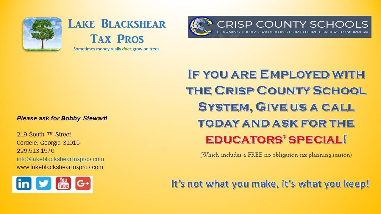 Lake Blackshear Tax Pros Educators' special