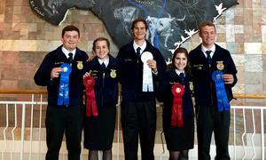 Rudder FFA Students Standing with Ribbons
