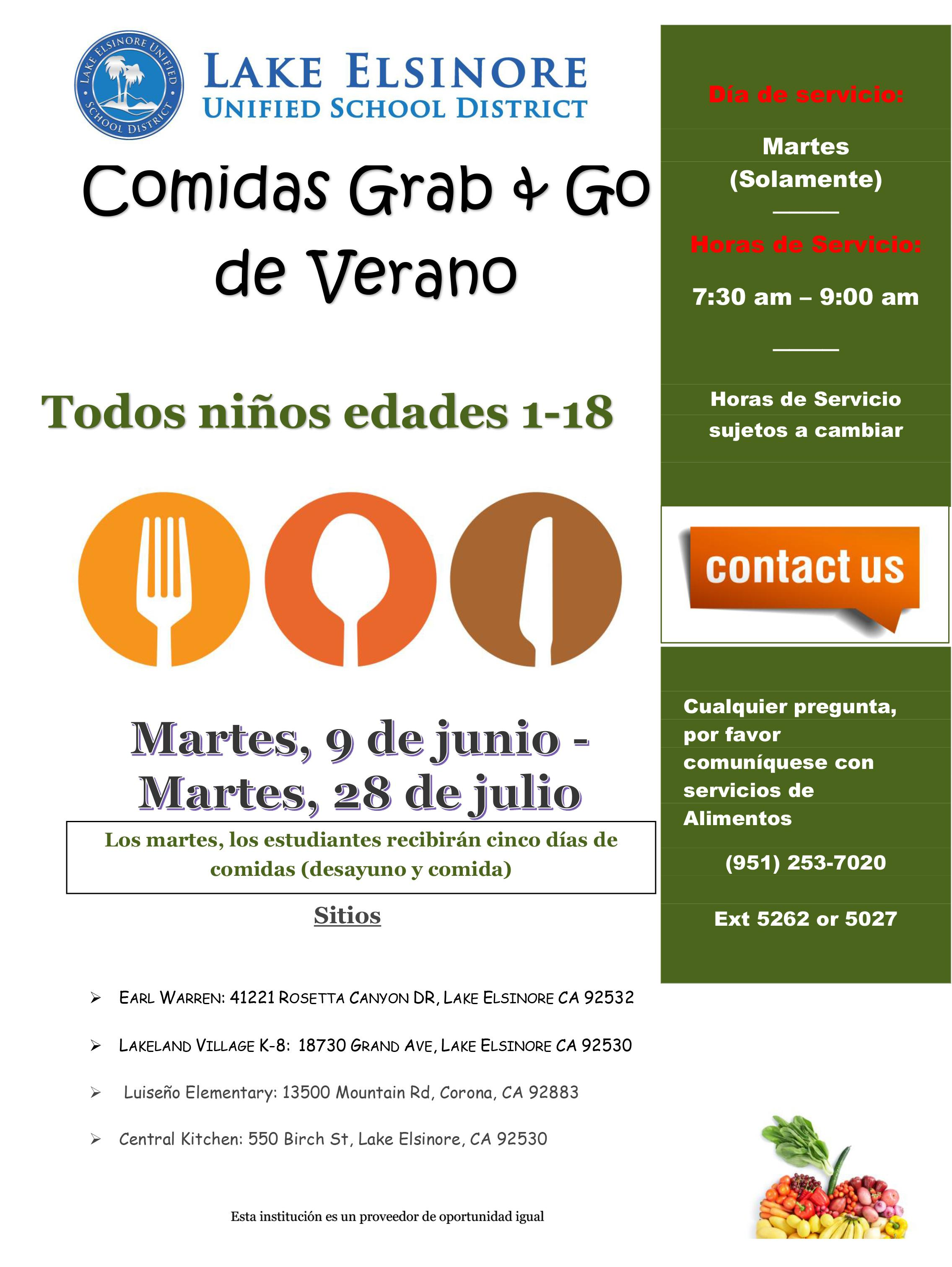 Summer Meal Flyer in Spanish