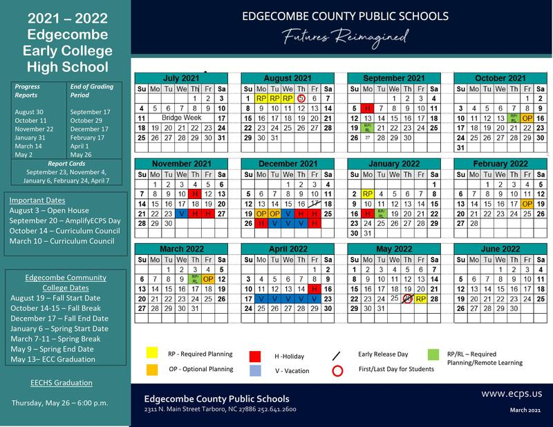 2021-2022 EECHS Calendar Approved! Featured Photo
