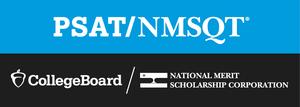 Blue, black and white PSAT logo