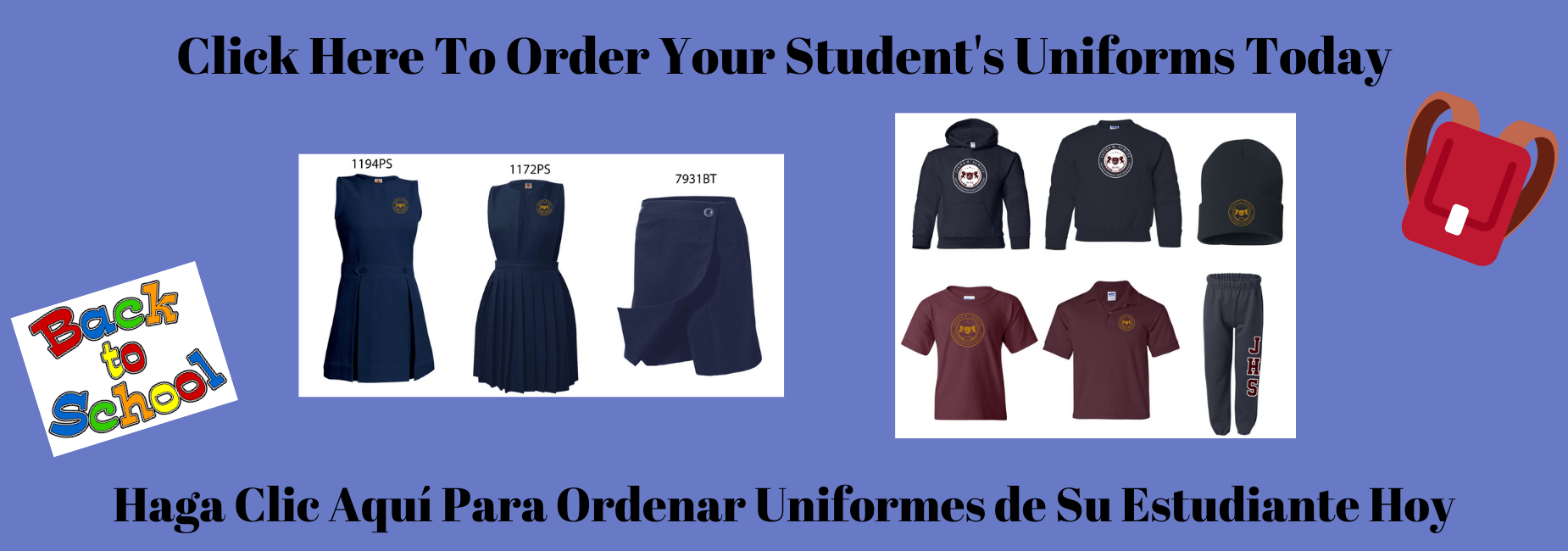 Image of uniforms and message to click to order uniforms