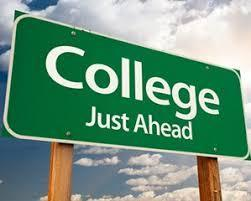 road sign that states college just ahead