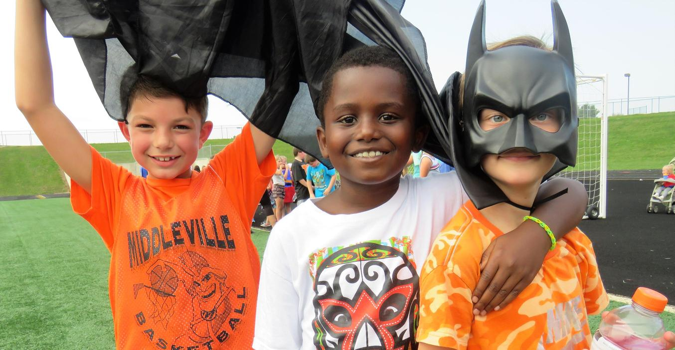 Students dressed up as favorite superheroes for the walk-a-thon event.