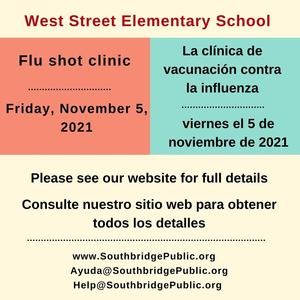 Flu shot clinic information for West Street Elementary School. All wording is in the body of the post.
