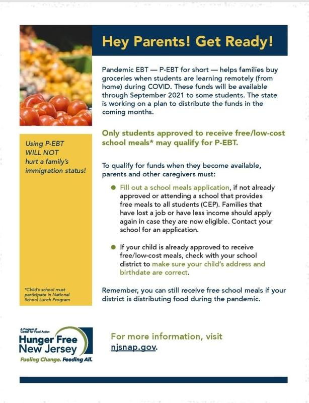 The deadline to fill out a lunch application for the 2021-2022 school year is Thursday, June 24, 2021.  Only those students approved to receive free/low cost meals may qualify for a P-EBT. Featured Photo