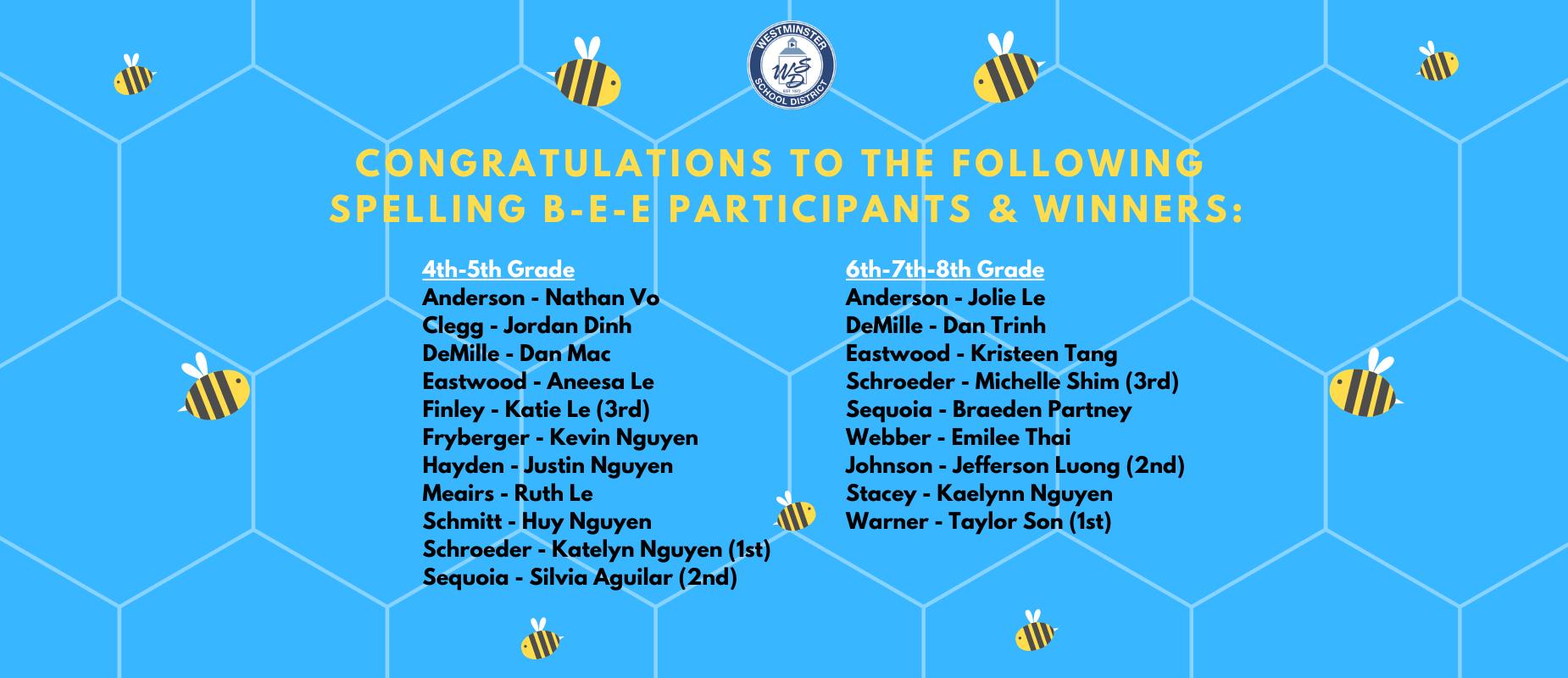 WSD Spelling Bee Winners