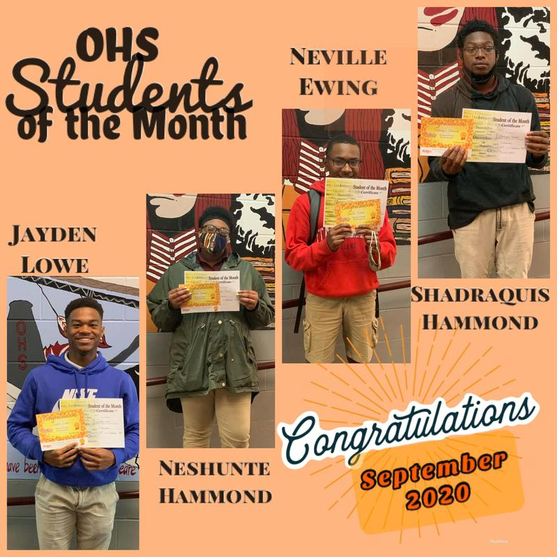 OHS September Students of the Month Featured Photo
