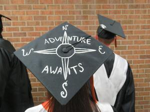Many seniors decorated their caps for graduation.