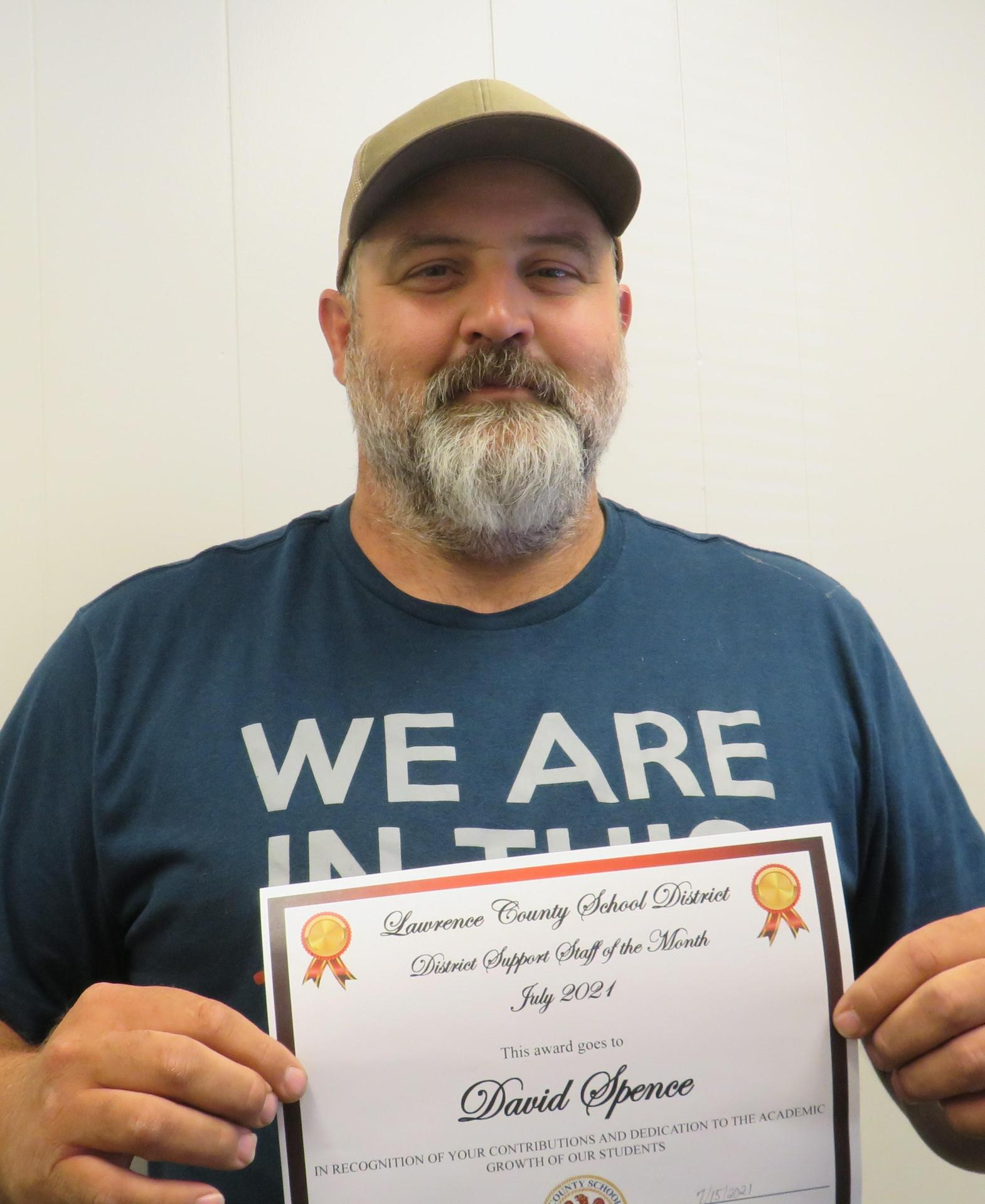 David Spence, Support Staff of the Month July 2021