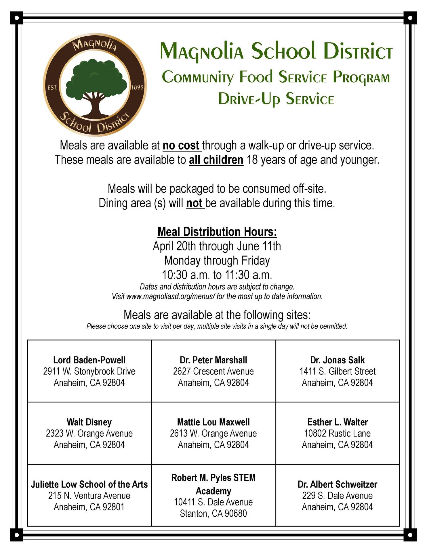 Community Food Service Flyer