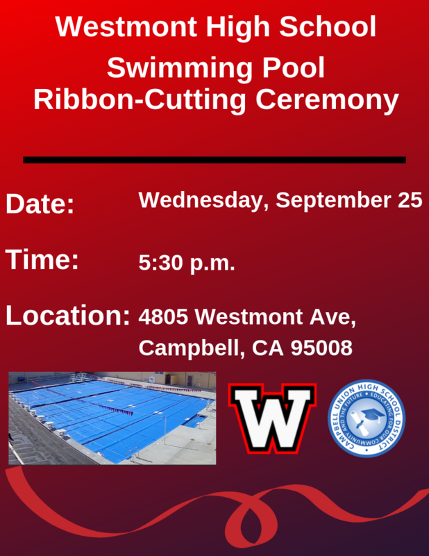 Westmont High School Ribbon-cutting for the new swimming pool
