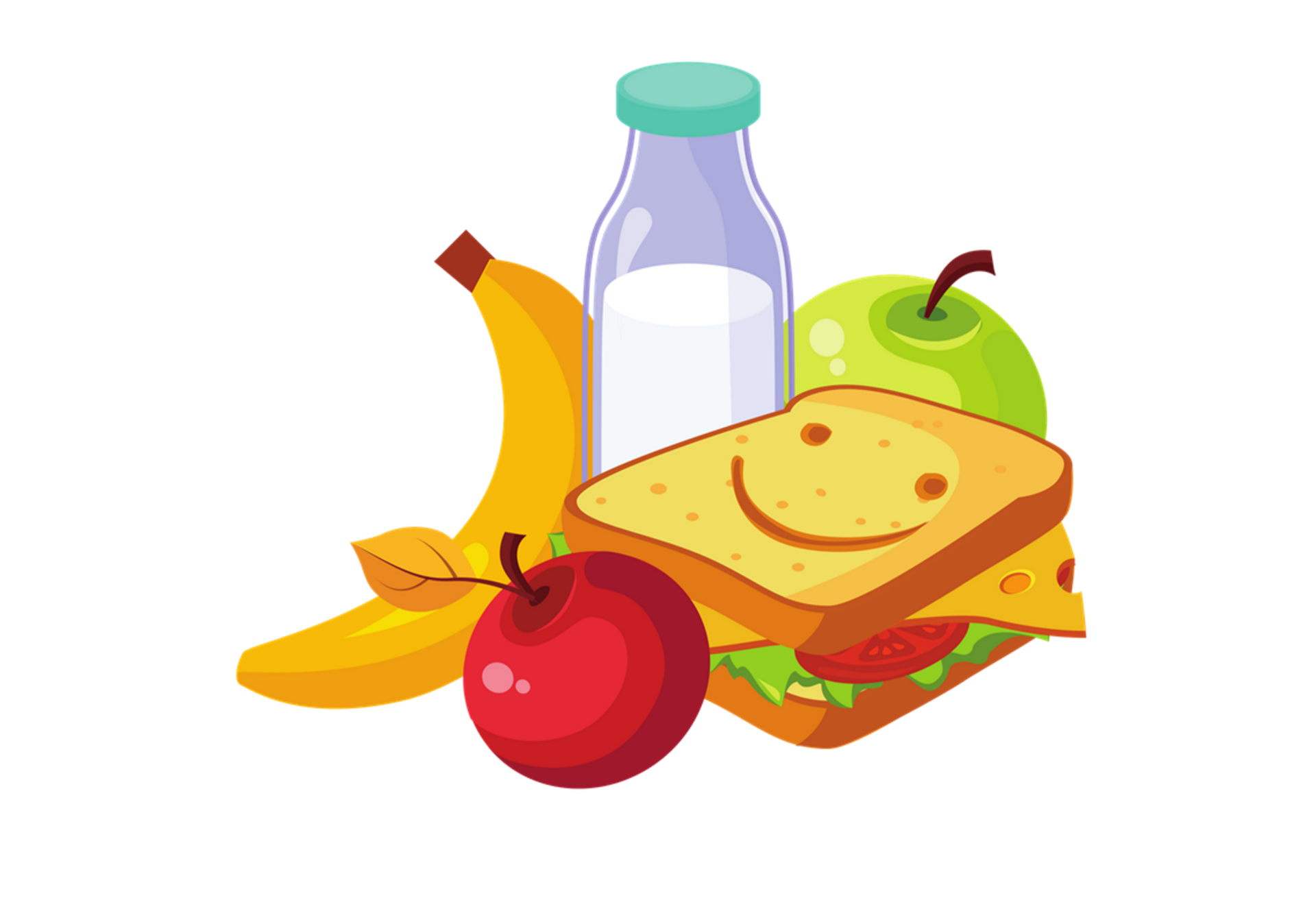 Cartoon sandwich, banana, two apples and a glass bottle of milk.