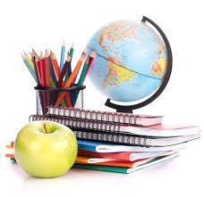 apple, books, globe