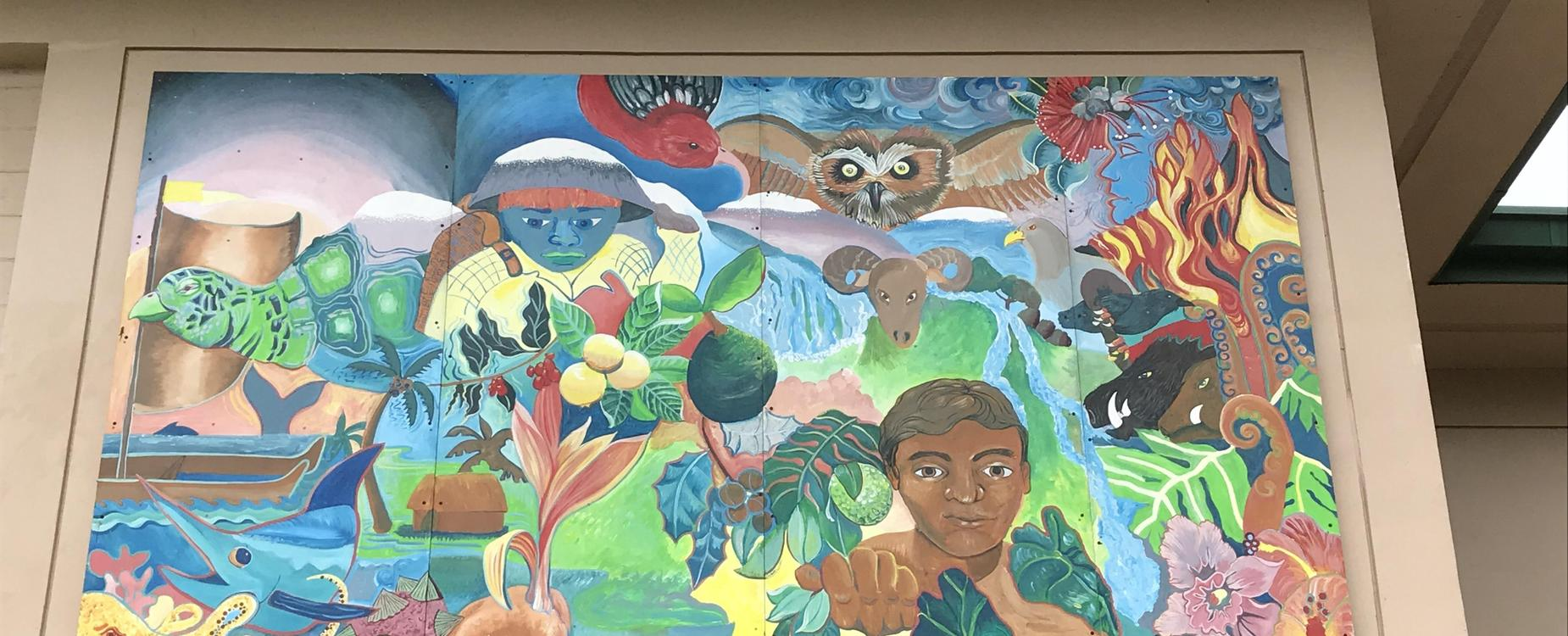 Photo of mural that includes representation of Hawaii at our school