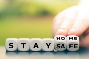 Letter blocks spelling stay home safe